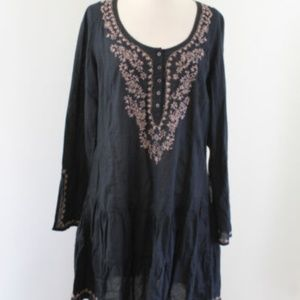 Lucky Brand Floral Embroidered Tunic - L